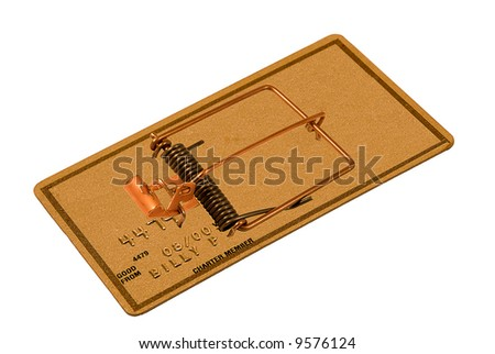 Credit card that looks like like a mouse trap - stock photo