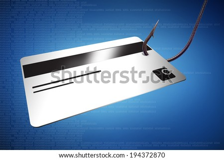 credit card with a fish hook on blue digital background - phishing                     - stock photo