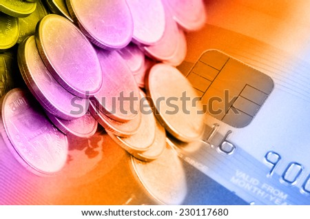 Credit Card with Chip Set and Money in Financial Concept. - stock photo