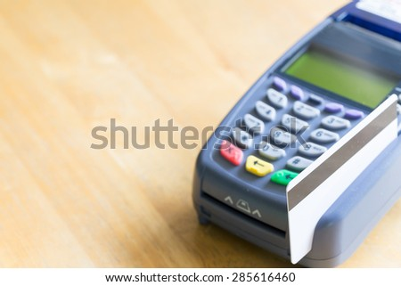 Credit Card With Credit Card Machine (Selective Focus) - stock photo