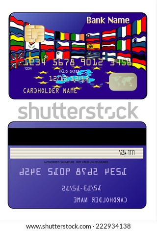 Credit Card with European Union Map. European Union country flags  - stock photo