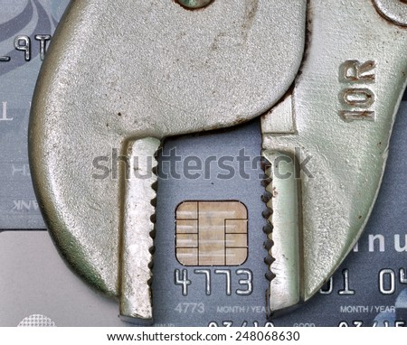 credit card with fix tool, credit repair or credit fix concept - stock photo