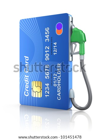 Credit card with gas nozzle - stock photo