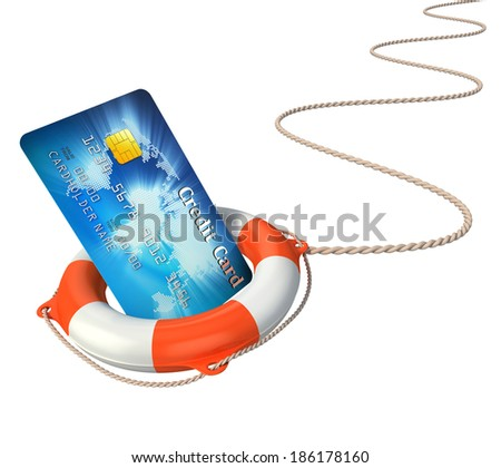 credit card with lifebuoy 3d illustration - stock photo