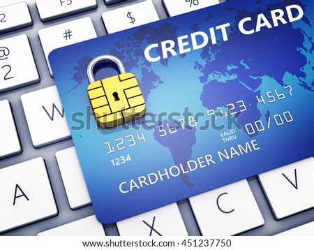 Credit card with security chip as padlock on a computer keyboard , Safe banking and online shopping , 3d illustration