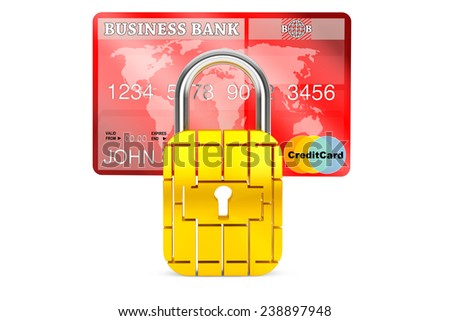 Credit Card with Security Chip as Padlock on a white background - stock photo