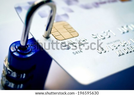 credit card with security lock - stock photo