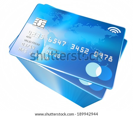 credit card with world map and microchip and contactless payment icon
