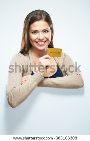 Credit card woman show. Isolated portrait with copy space. White background.  - stock photo