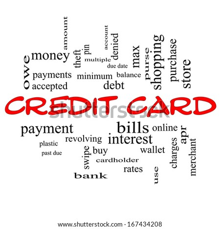 Credit Card Word Cloud Concept in red caps with great terms such as debt, balance, interest, charges and more.