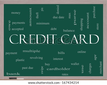 Credit Card Word Cloud Concept on a Blackboard with great terms such as debt, balance, interest, charges and more. - stock photo