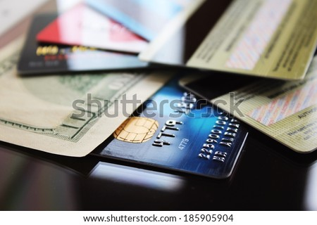 Credit cards and banknote - stock photo