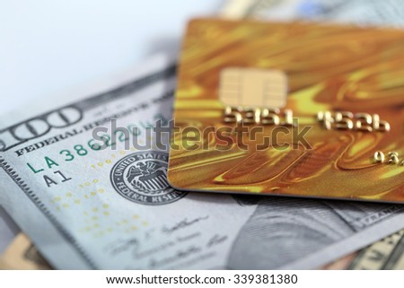 Credit cards and dollars background, macro - stock photo