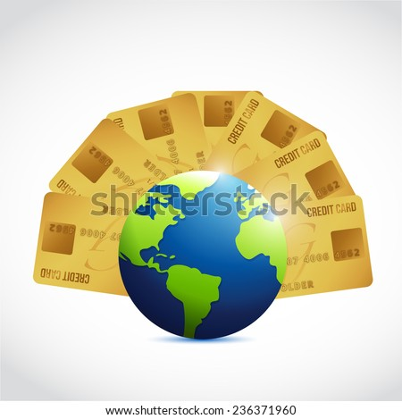 credit cards and globe illustration design over a white background - stock photo