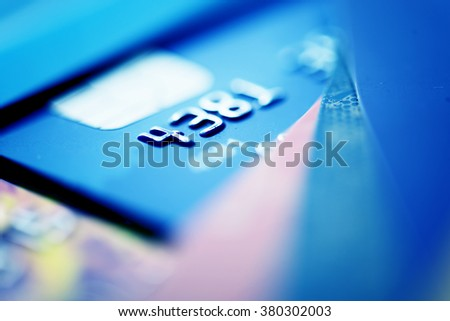 Credit cards. Blue toned