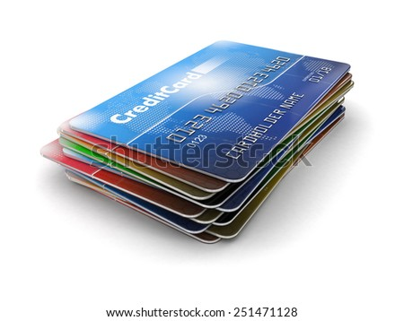 Credit Cards (clipping path included) - stock photo