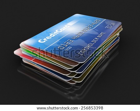Credit Cards (clipping path included) Elements of this image furnished by NASA - stock photo