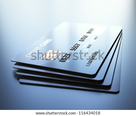 Credit Cards - 3d rendered with medium DOF - stock photo