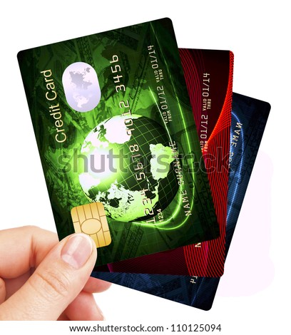 credit cards fan holded by hand over white background - stock photo