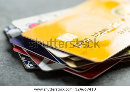 Credit cards for  payment  products with your business. - stock photo