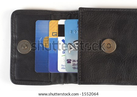 Credit cards in purse - stock photo