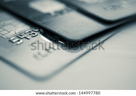 Credit cards in shallow focus - stock photo
