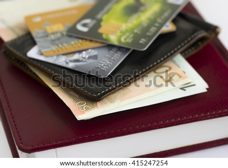 Credit cards in shallow focus. Credit card and wallet. Credit card and euro money. Closer-Up Credit card. Credit Card with chip. Credit cards for payment. Several credit cards. - stock photo