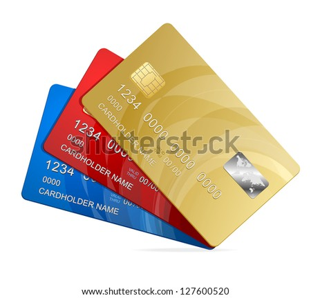 Credit Cards isolated - stock photo