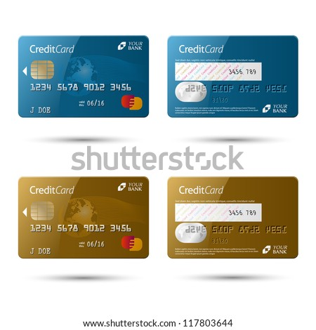Credit cards, isolated (vector also available) - stock photo