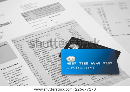 Credit Cards on Bank Statements - stock photo