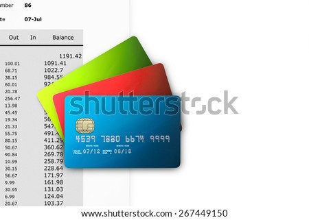 Credit Cards on Bank Statements with copy space - stock photo