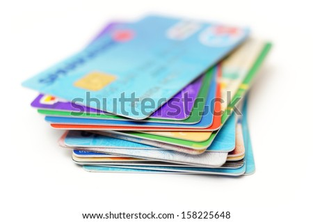 credit cards stack on white - stock photo
