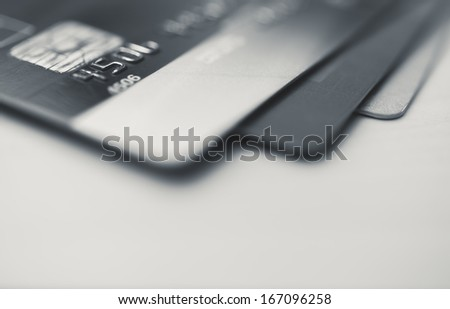 Credit cards up close - stock photo