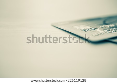 Credit cards up close with copy space - stock photo