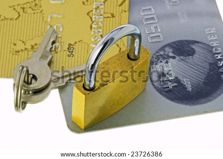 Credit cards with a lock and a key - stock photo