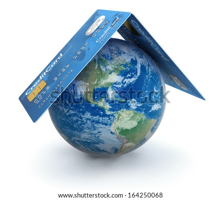Credit Cards with Globe (clipping path included) Elements of this image furnished by NASA - stock photo