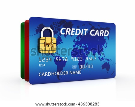 Credit cards with padlock chip on white background , Safe banking and secure online shopping ,  3d illustration