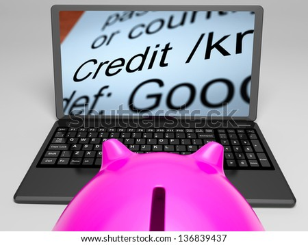 Credit Definition On Laptop Showing Financial Help Or Money Loan