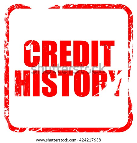 credit history, red rubber stamp with grunge edges - stock photo