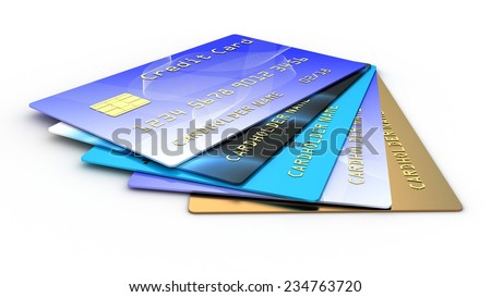 Credit plastic card on white background - stock photo