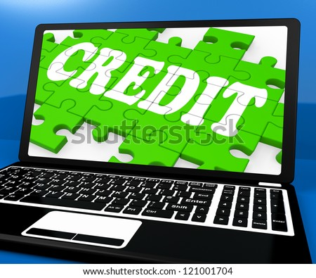 Credit Puzzle On Notebook Shows Online Purchases And Digital Money