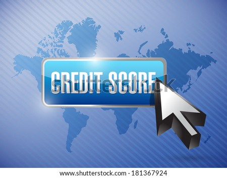 credit score button illustration design over a world map background - stock photo