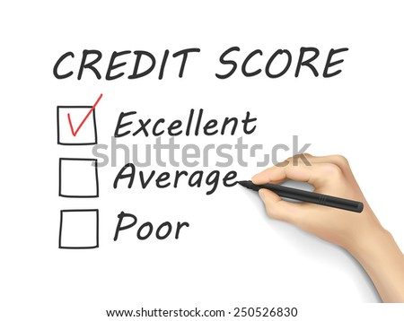 credit score survey written by hand on white background - stock photo
