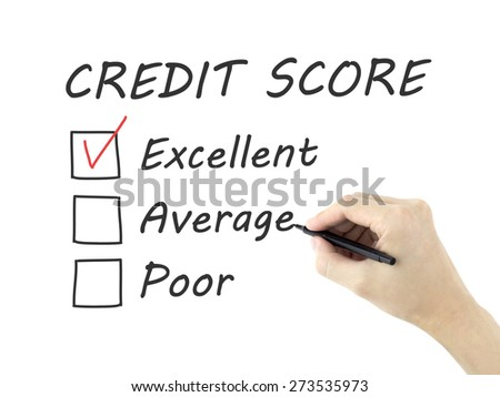 credit score survey written by man's hand on white background