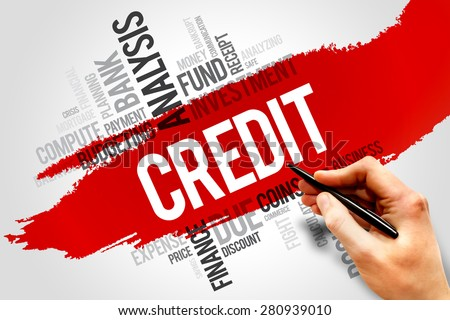 CREDIT word cloud, business concept - stock photo