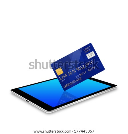 creditcard with tablet,tablet phone illustration