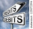 credits or debits financial transaction and bookkeeping for current account debit or credit cards - stock photo