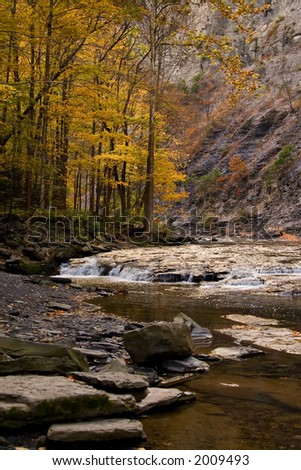 Creek and Gorge in Autumn - stock photo
