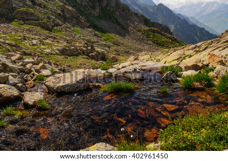 Creek at the top of the mountain - stock photo