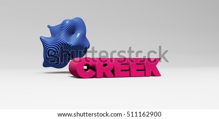CREEK -  color type on white studiobackground with design element - 3D rendered royalty free stock picture. This image can be used for an online website banner ad or a print postcard.